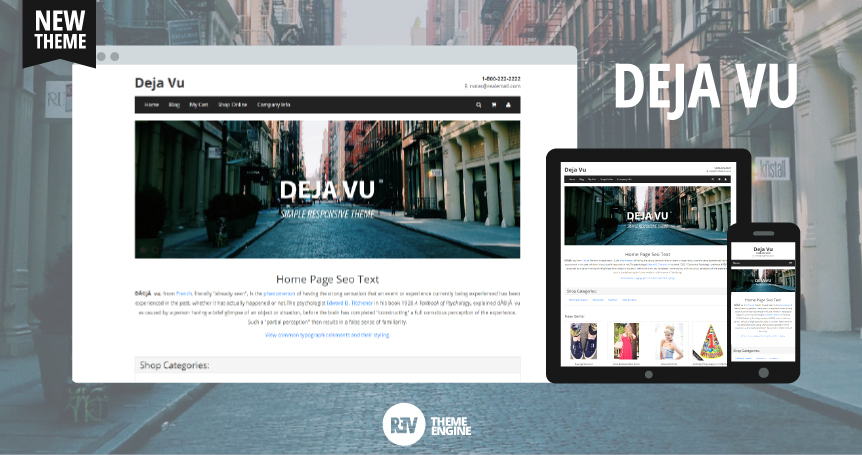 Demo Deja Vu Theme - Responsive Ecommerce Theme Using Boostrap, Bootswatch and Base Theme
