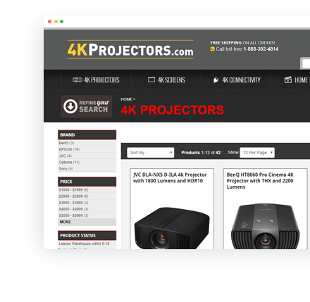 projectorscreen.com Website Screenshot