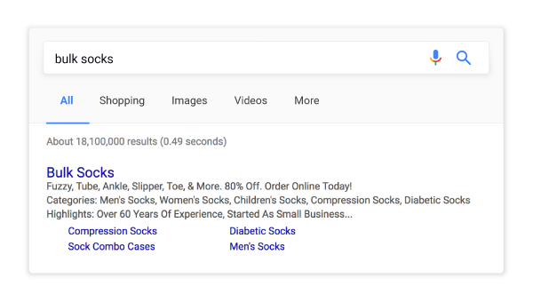 Google Search Results For Socks Screen Shot