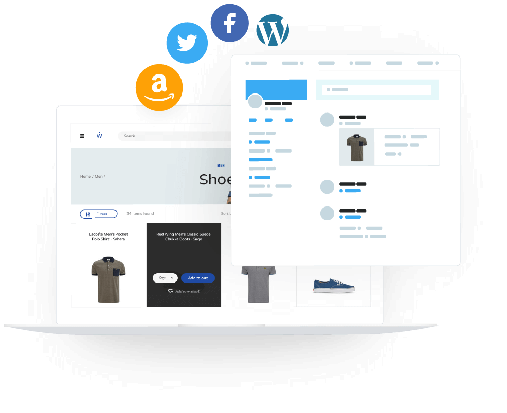 Site Selling On Multiple Platforms Including Amazon, Twitter, Facebook And Wordpress