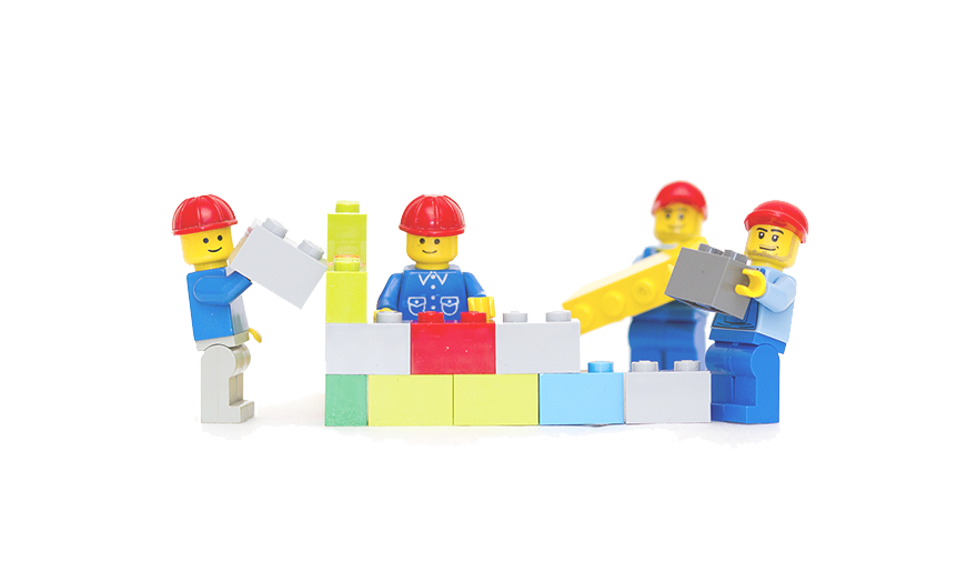 Logo men building with Lego